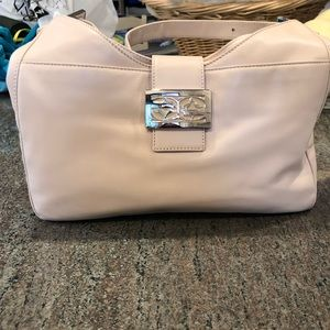 Fendi Cream Colored Leather Bag with Silver Buckle